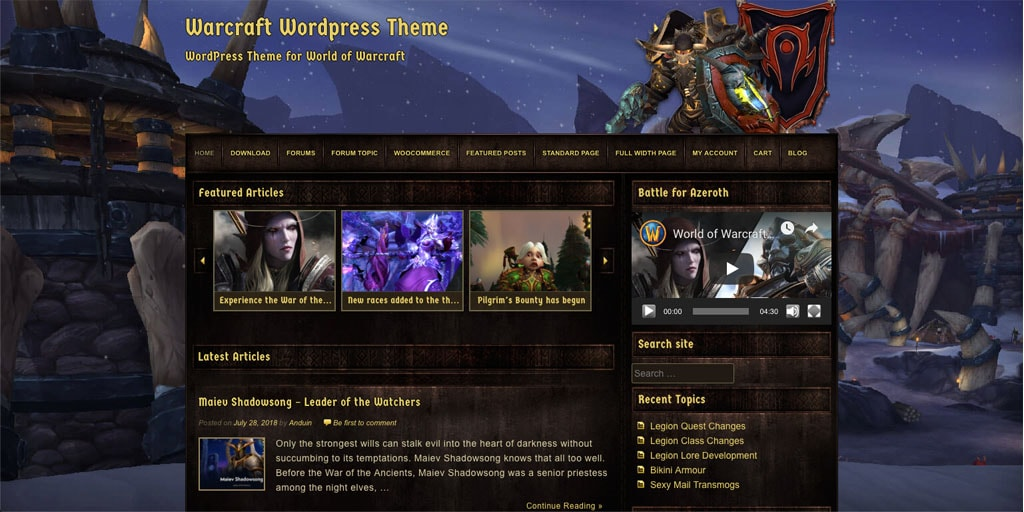 Warcraft WordPress Theme V2